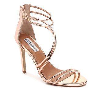 Steve Madden Fico Rose Gold Metallic Heels 9.5